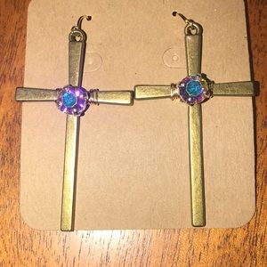 Antique gold cross earrings with crystal
